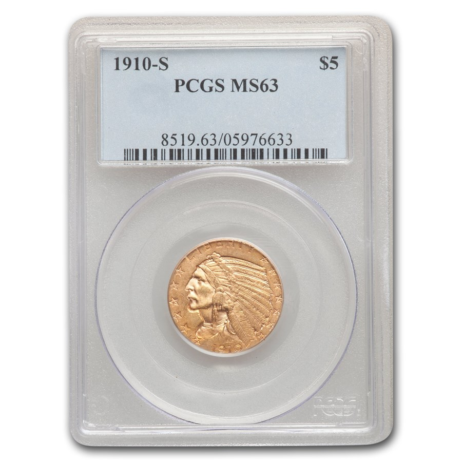 1910-S $5 Indian Gold Half Eagle MS-63 PCGS