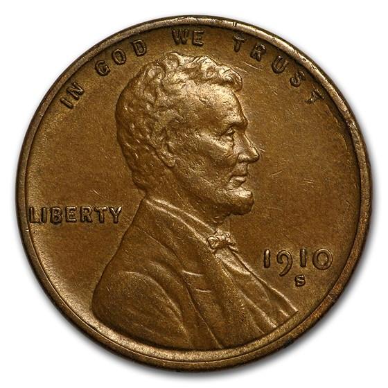 1910-S Lincoln Cent AU