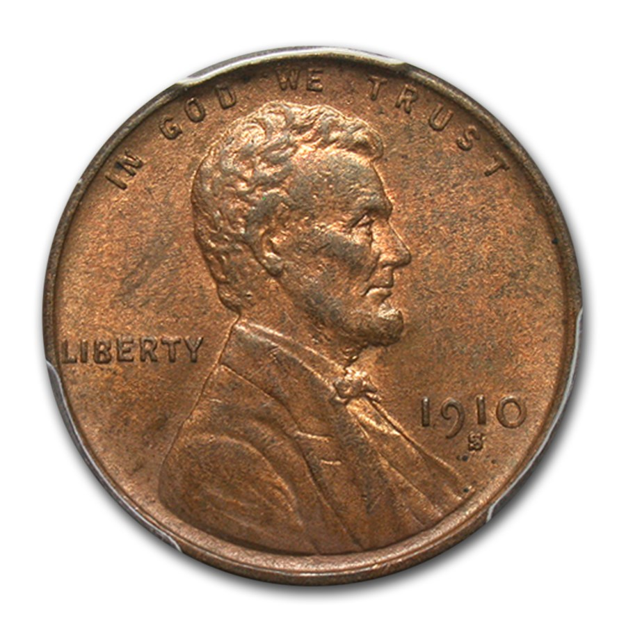 1910-S Lincoln Cent MS-63 PCGS (Red/Brown)