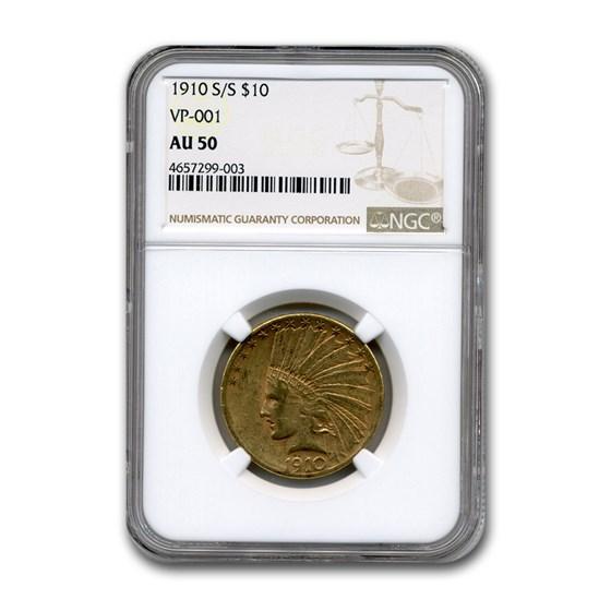 1910-S/S $10 Indian Gold Eagle AU-50 NGC (VP-001)