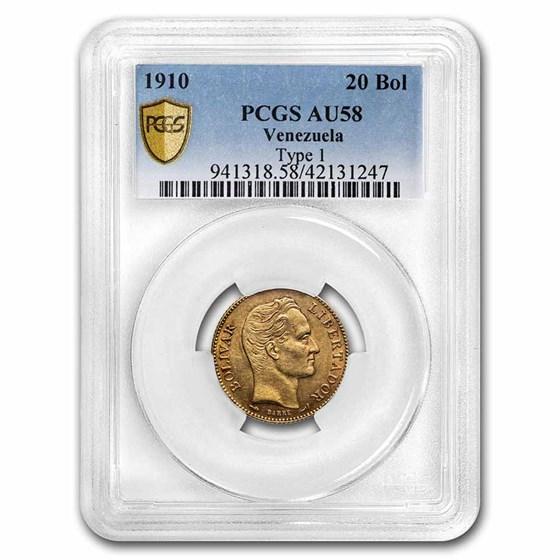 1910 Venezuela Gold 20 Bolivares Simon Bolivar AU-58 PCGS