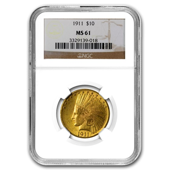 1911 $10 Indian Gold Eagle MS-61 NGC