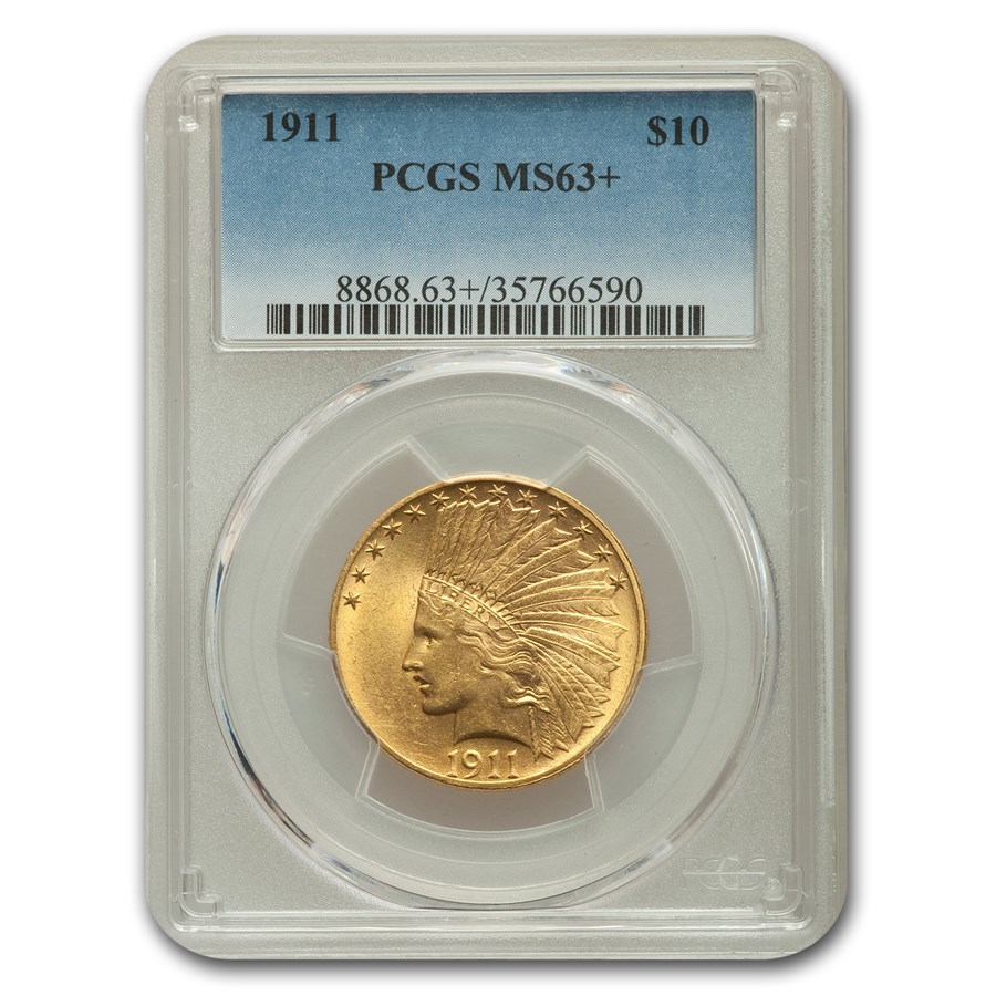 1911 $10 Indian Gold Eagle MS-63+ PCGS