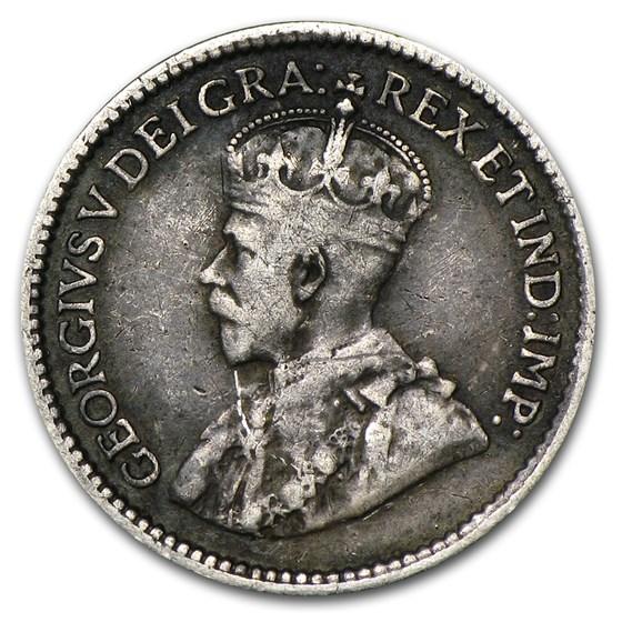 1911-1921 Canada Silver 5 Cents Avg Circ (Random Dates)