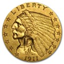 1911 $2.50 Indian Gold Quarter Eagle AU
