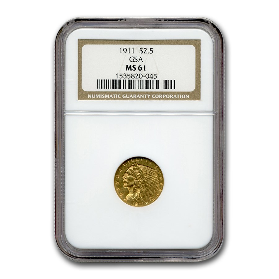 1911 $2.50 Indian Gold Quarter Eagle MS-61 NGC (GSA)