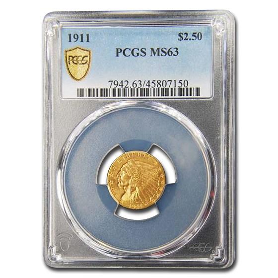 1911 $2.50 Indian Gold Quarter Eagle MS-63 PCGS (OGH)