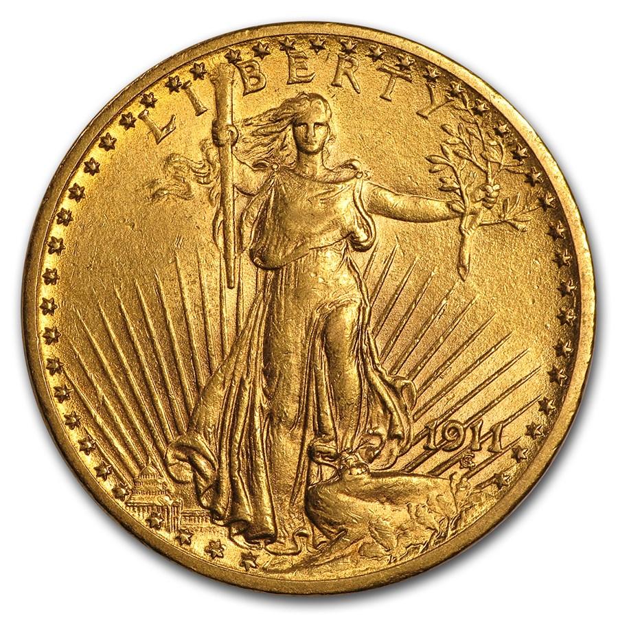1911 $20 Saint-Gaudens Gold Double Eagle AU