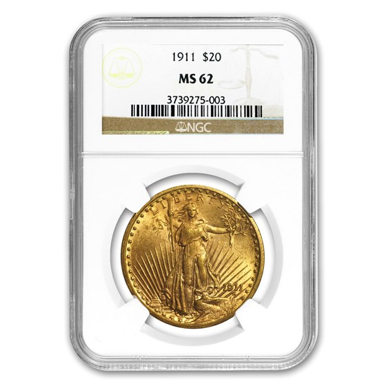 1911 $20 Saint-Gaudens Gold Double Eagle MS-62 NGC