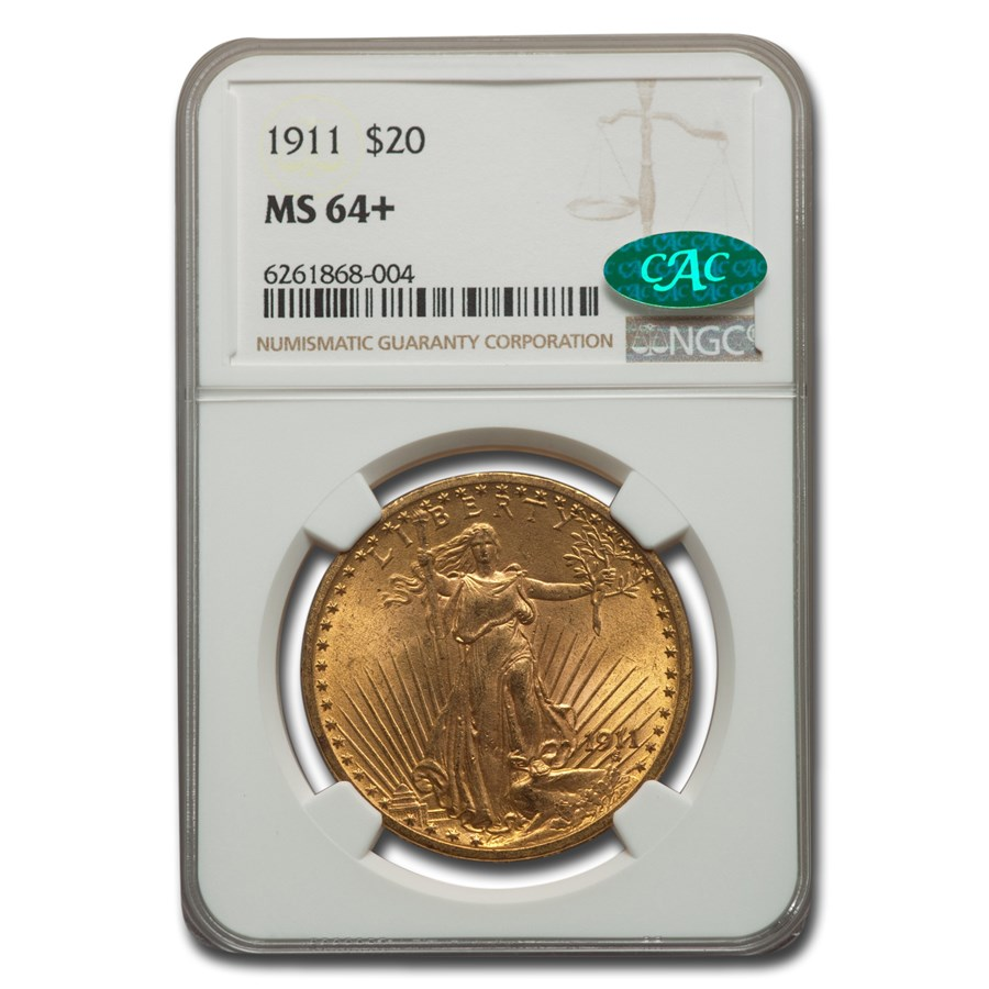 1911 $20 Saint-Gaudens Gold Double Eagle MS-64+ NGC CAC