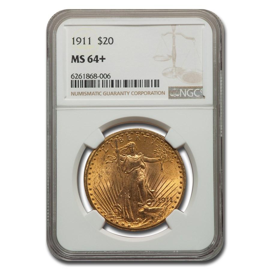 1911 $20 Saint-Gaudens Gold Double Eagle MS-64+ NGC