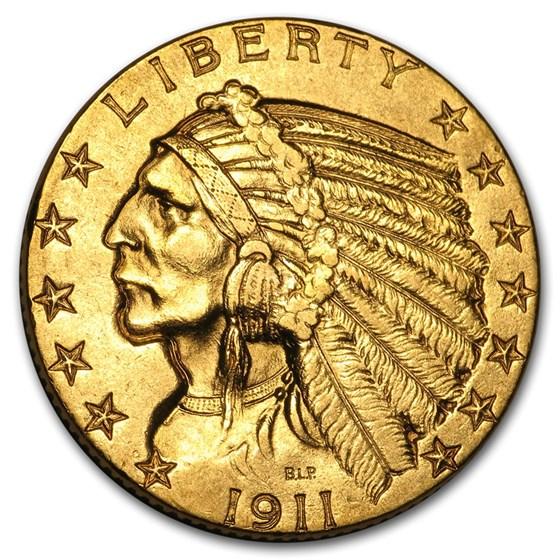1911 $5 Indian Gold Half Eagle AU