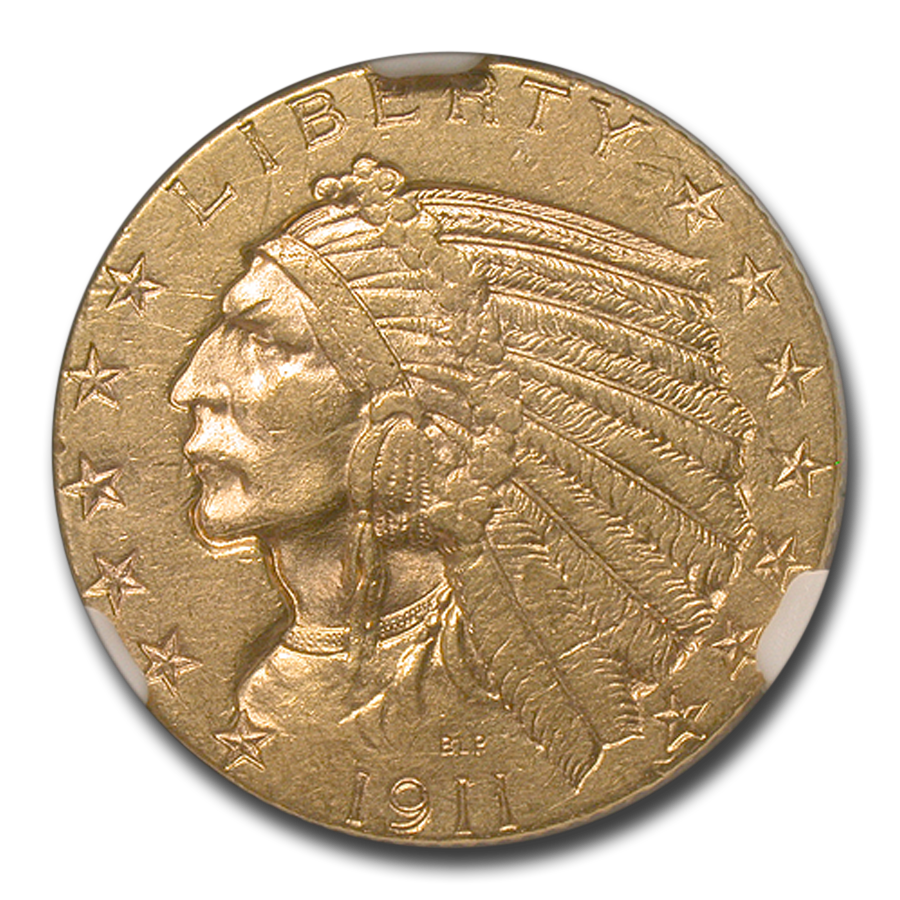 1911 $5 Indian Gold Half Eagle MS-60 NGC