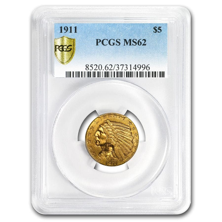 1911 $5 Indian Gold Half Eagle MS-62 PCGS