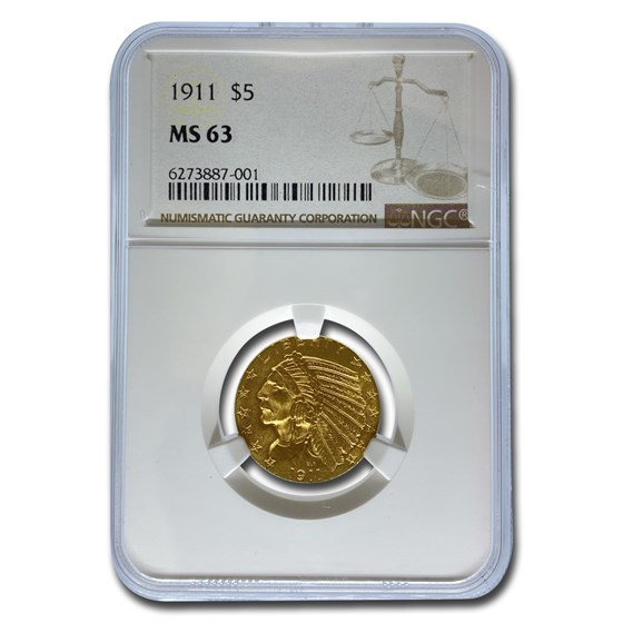 1911 $5 Indian Gold Half Eagle MS-63 NGC