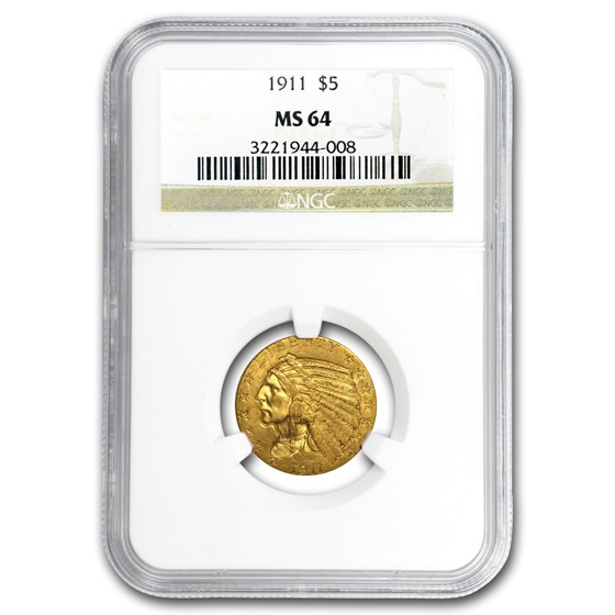 1911 $5 Indian Gold Half Eagle MS-64 NGC