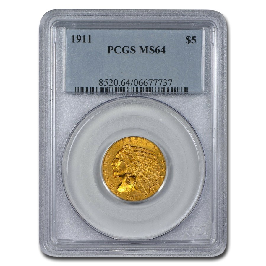 1911 $5 Indian Gold Half Eagle MS-64 PCGS