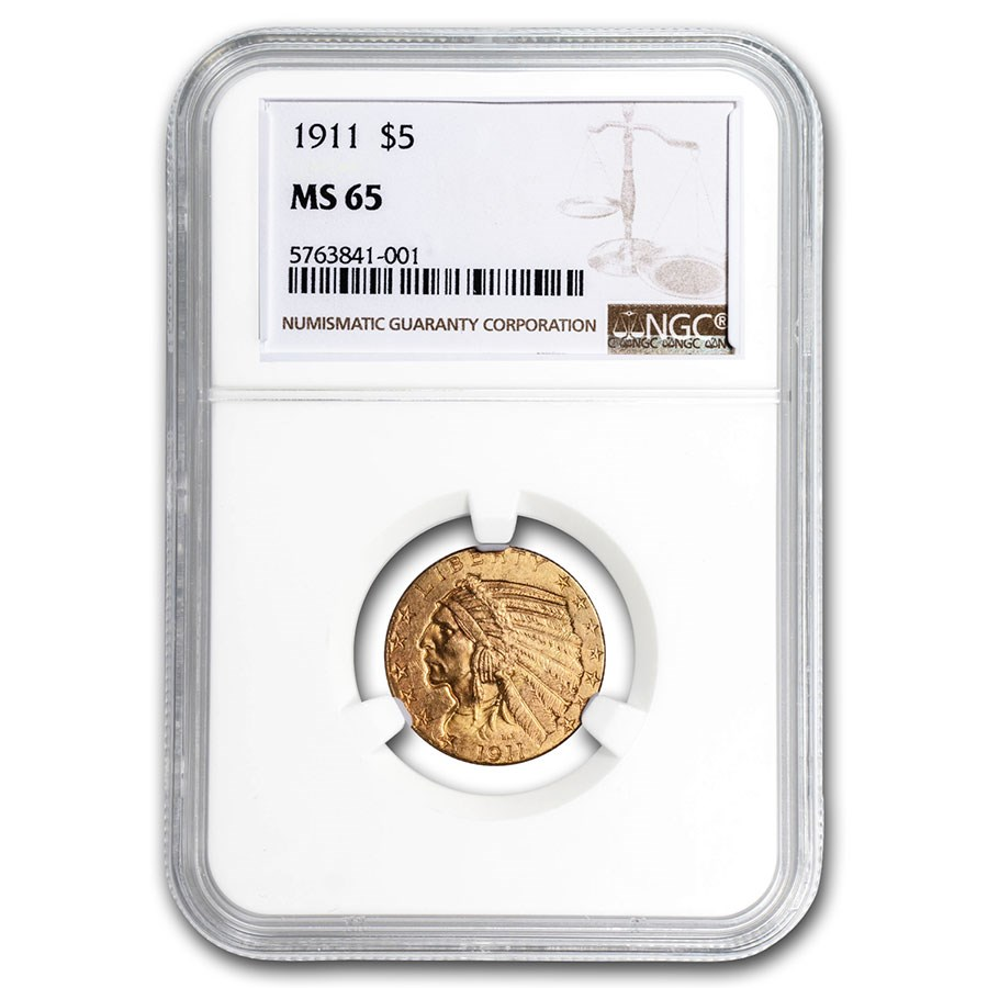 1911 $5 Indian Gold Half Eagle MS-65 NGC