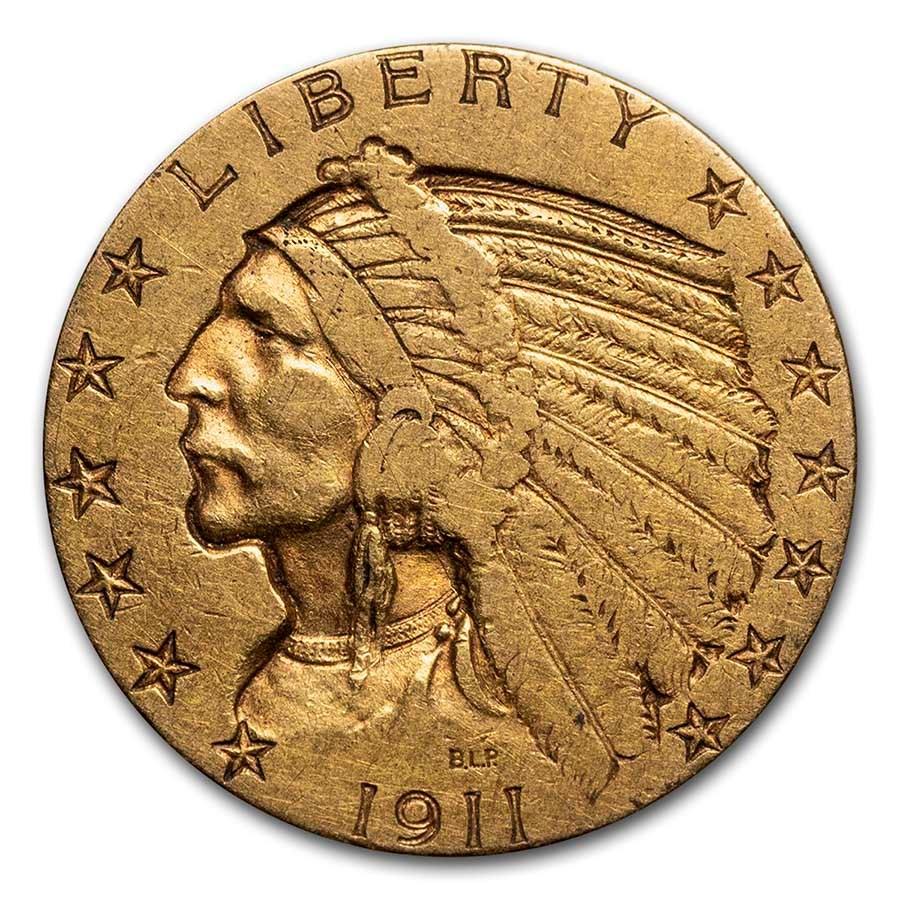 1911 $5 Indian Gold Half Eagle XF
