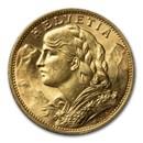 1911-B Swiss Gold 20 Francs Helvetia BU