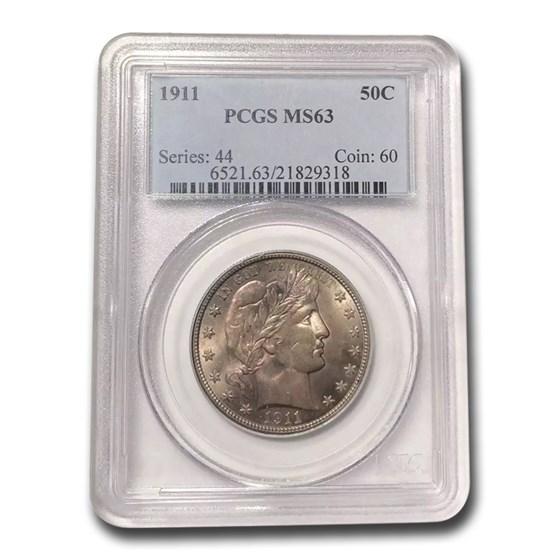 1911 Barber Half Dollar MS-63 PCGS