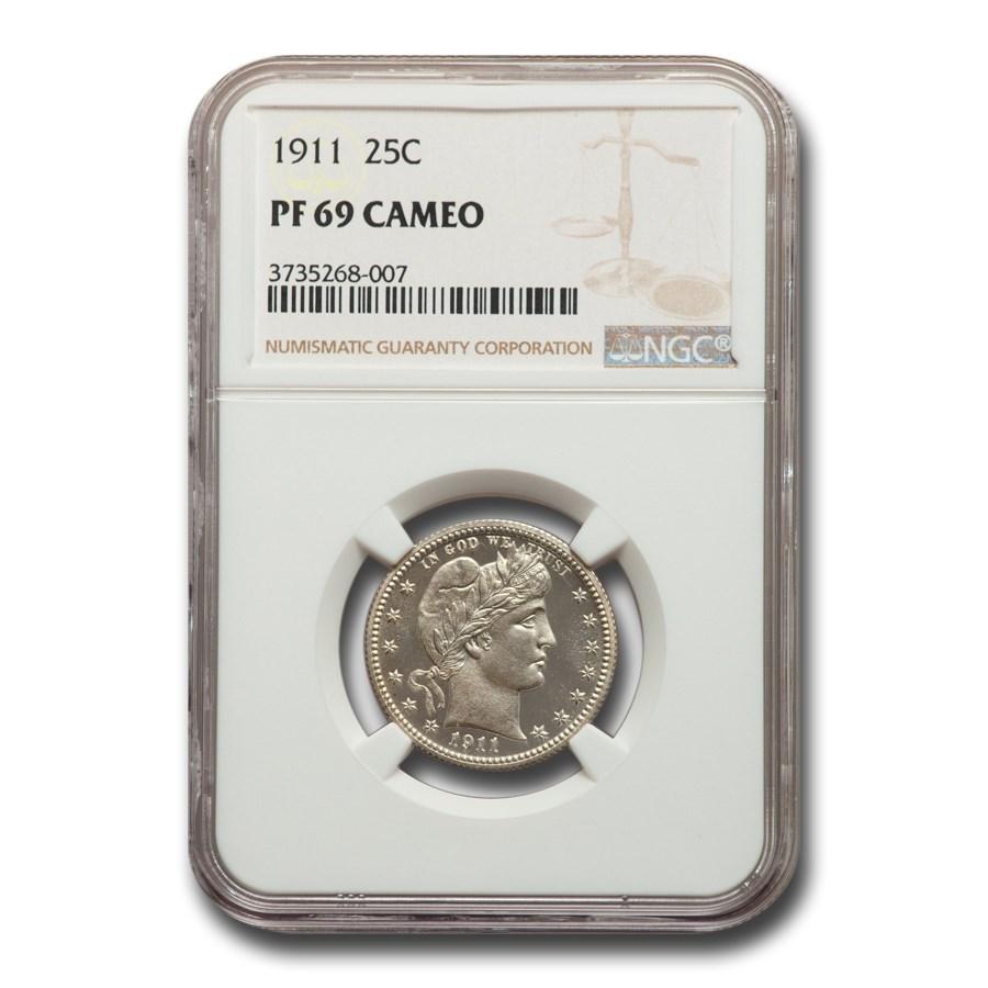 1911 Barber Quarter PF-69 Cameo NGC
