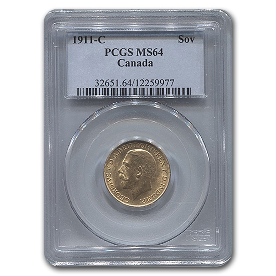 1911-C Canada Gold Sovereign George V MS-64 PCGS