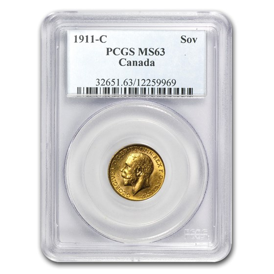 1911-C Canada Gold Sovereign MS-63 PCGS