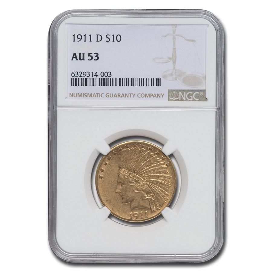 1911-D $10 Indian Gold Eagle AU-53 NGC