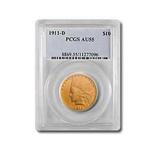 1911-D $10 Indian Gold Eagle AU-55 PCGS