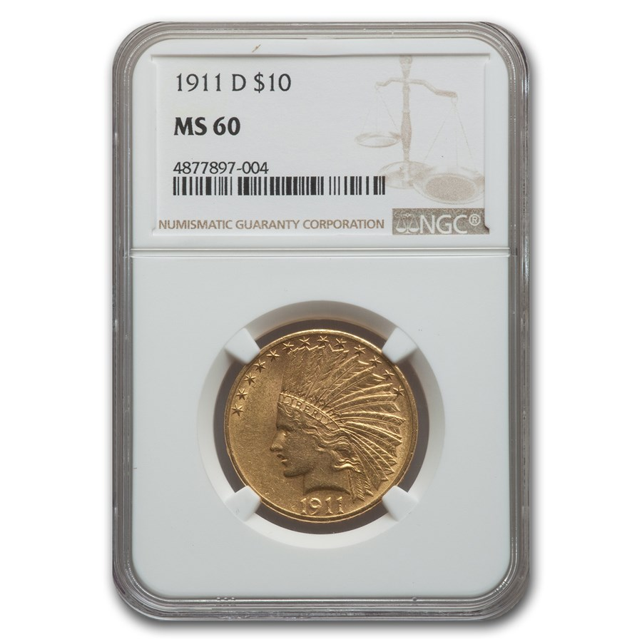 1911-D $10 Indian Gold Eagle MS-60 NGC