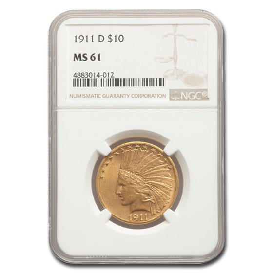 1911-D $10 Indian Gold Eagle MS-61 NGC