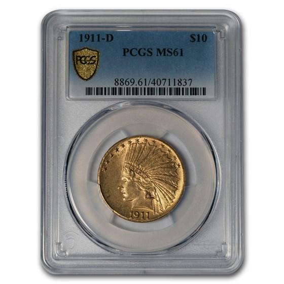 1911-D $10 Indian Gold Eagle MS-61 PCGS