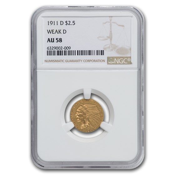 1911-D $2.50 Indian Gold Quarter Eagle AU-58 NGC (Weak D)