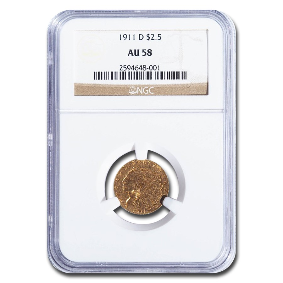 1911-D $2.50 Indian Gold Quarter Eagle AU-58 NGC