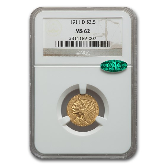 1911-D $2.50 Indian Gold Quarter Eagle MS-62 NGC CAC