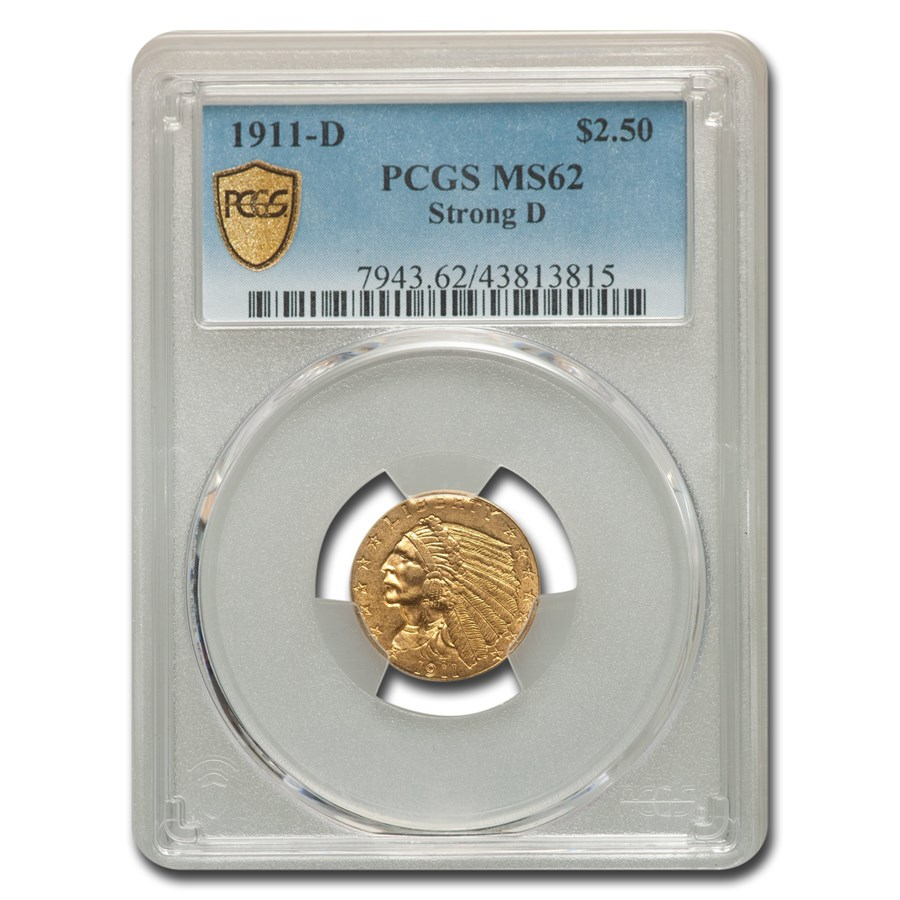 1911-D $2.50 Indian Gold Quarter Eagle MS-62 PCGS (Strong D)