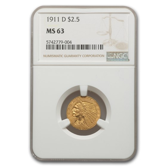 1911-D $2.50 Indian Gold Quarter Eagle MS-63 NGC
