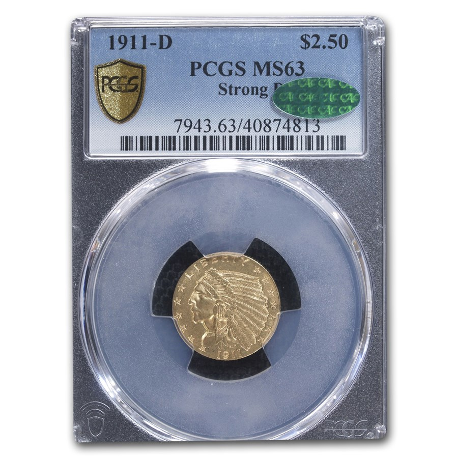 1911-D $2.50 Indian Gold Quarter Eagle MS-63 PCGS CAC (Strong D)