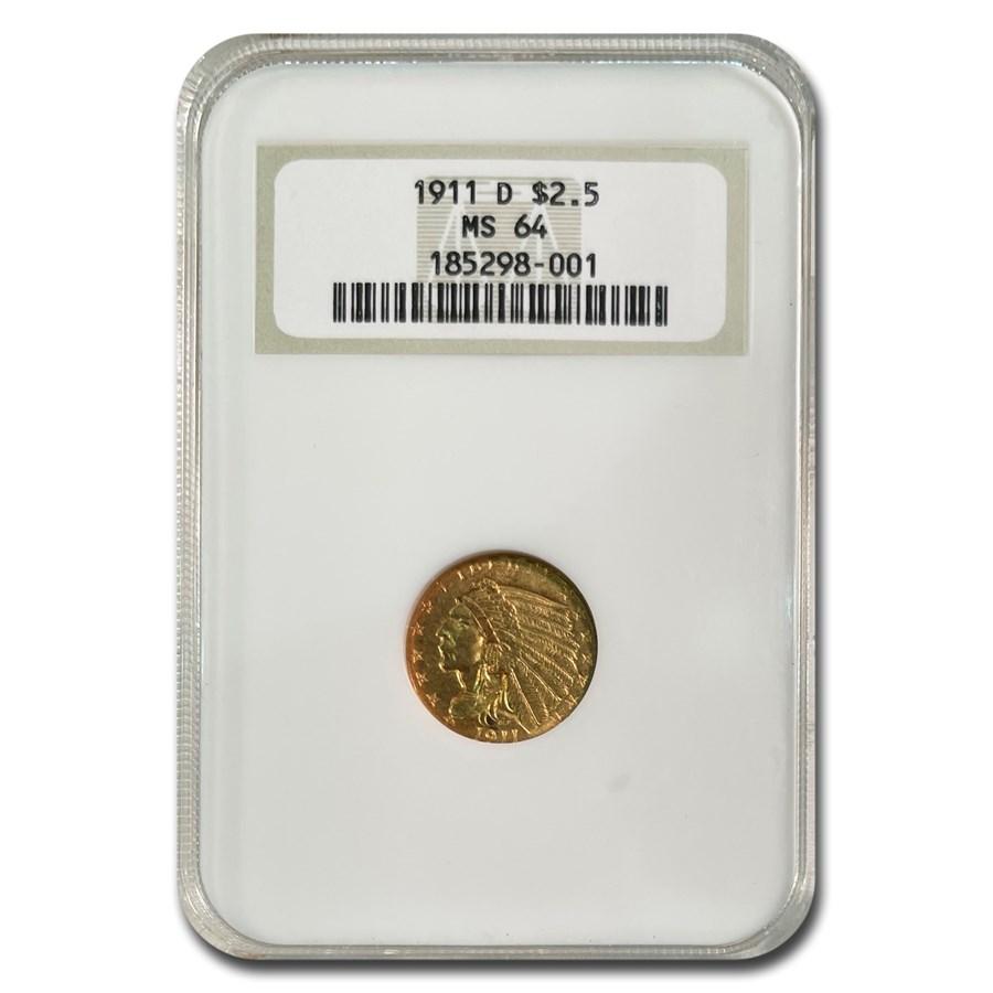 1911-D $2.50 Indian Gold Quarter Eagle MS-64 NGC
