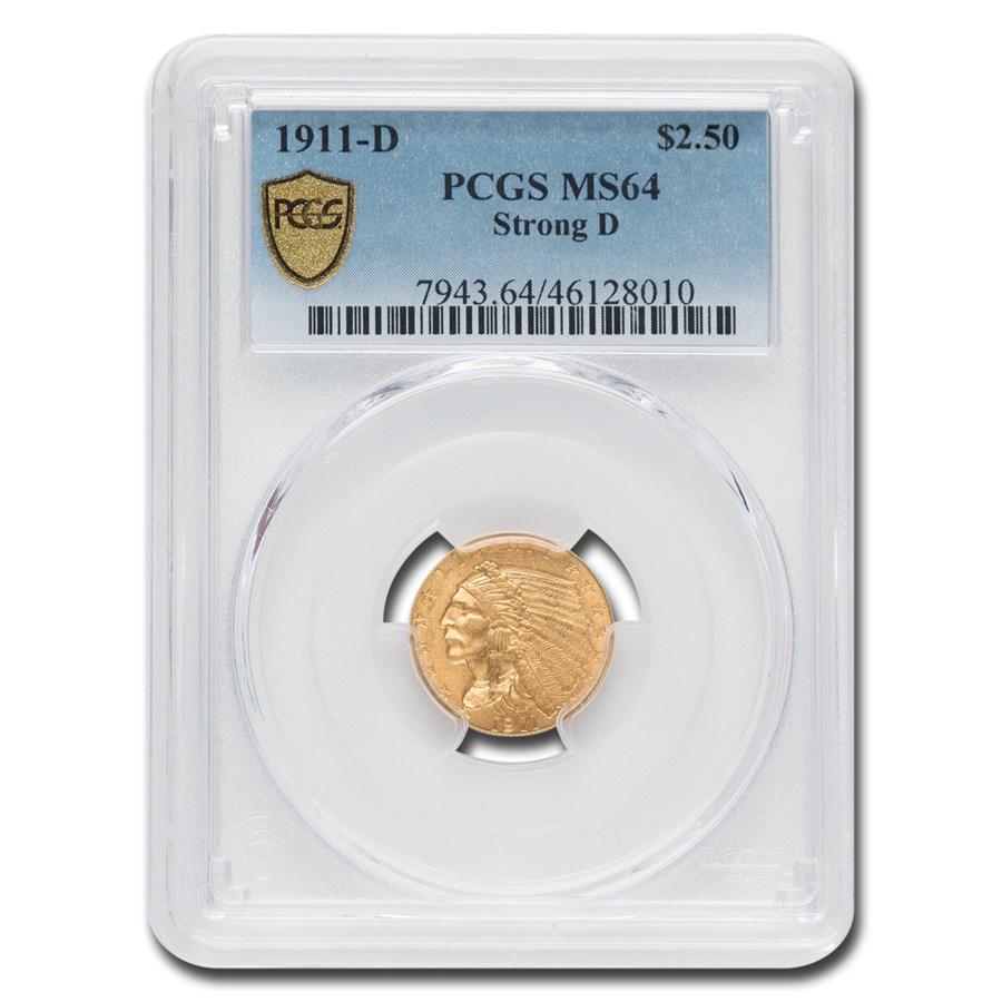 1911-D $2.50 Indian Gold Quarter Eagle MS-64 PCGS (Strong D)