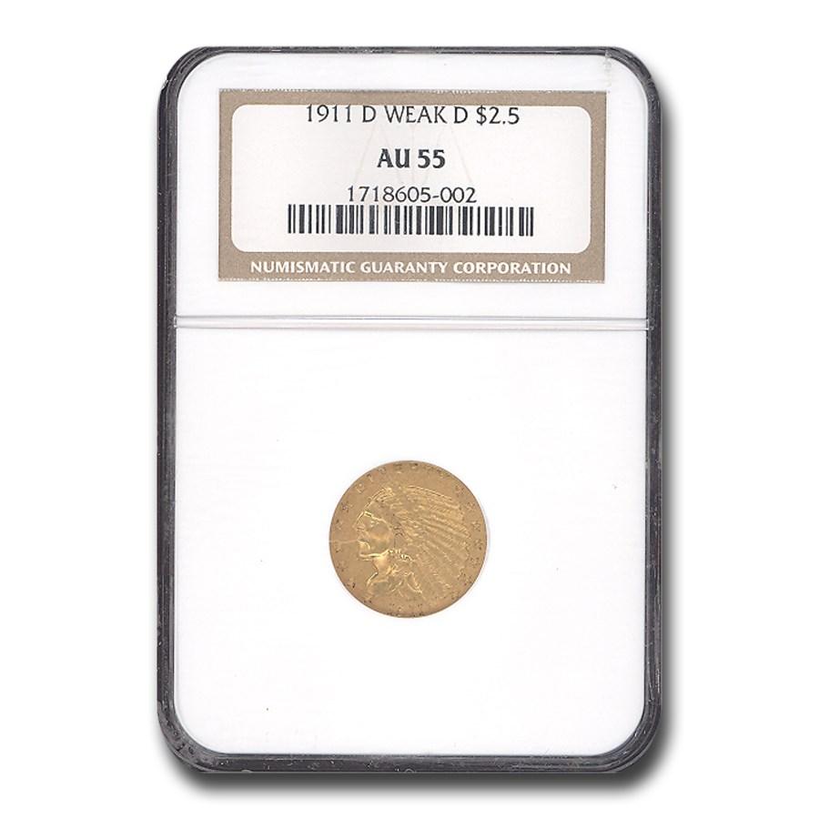 1911-D $2.50 Indian Gold Quarter Eagle Weak-D AU-55 NGC