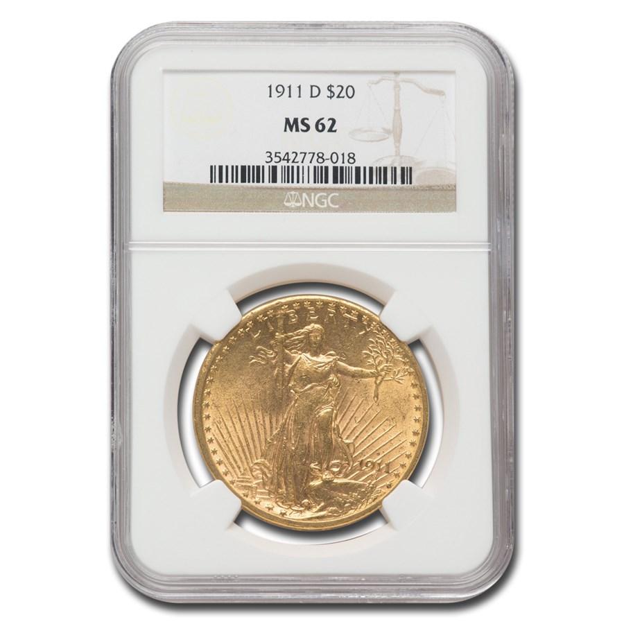 1911-D $20 Saint-Gaudens Gold Double Eagle MS-62 NGC
