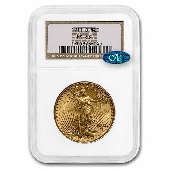 1911-D $20 Saint-Gaudens Gold Double Eagle MS-63 NGC CAC