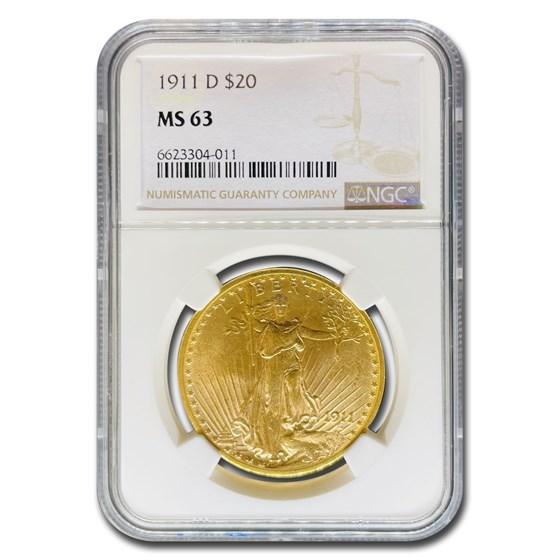 1911-D $20 Saint-Gaudens Gold Double Eagle MS-63 NGC