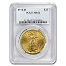1911-D $20 Saint-Gaudens Gold Double Eagle MS-63 PCGS