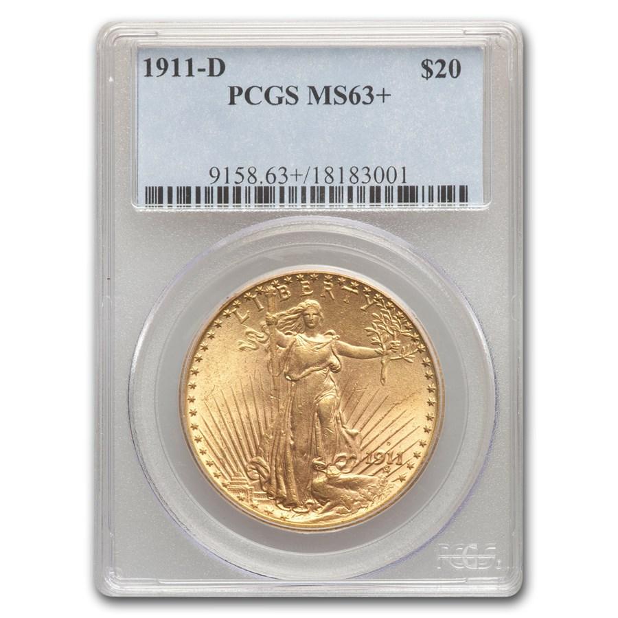 1911-D $20 Saint-Gaudens Gold Double Eagle MS-63+ PCGS