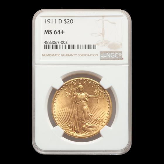 1911-D $20 Saint-Gaudens Gold Double Eagle MS-64+ NGC