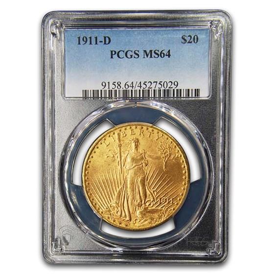 1911-D $20 Saint-Gaudens Gold Double Eagle MS-64 PCGS