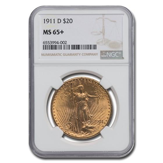 1911-D $20 Saint-Gaudens Gold Double Eagle MS-65+ NGC